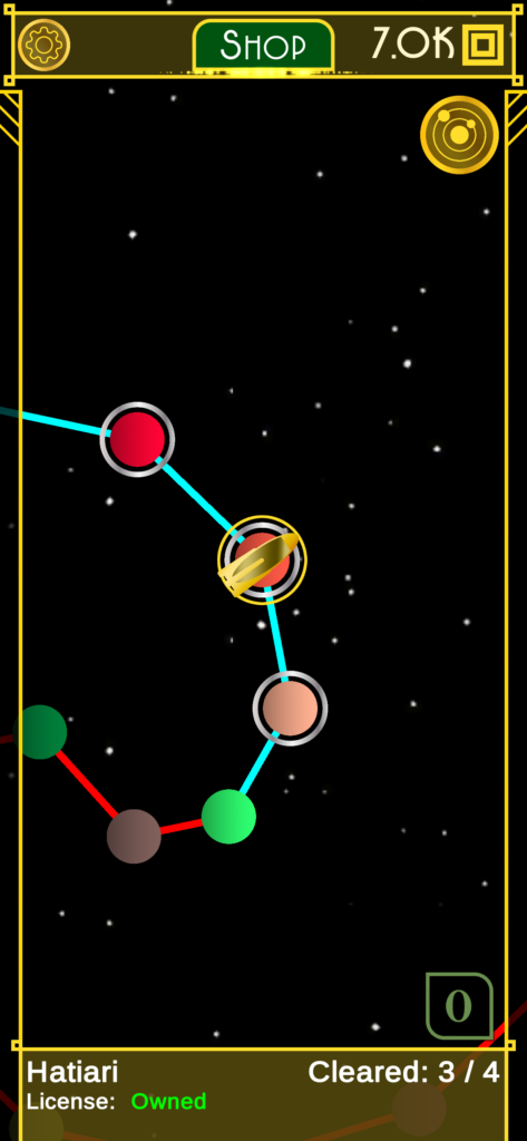 galaxy view showing stars unlocked